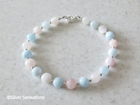 Natural Pink & Blue Morganite & Sterling Silver Beads Bracelet